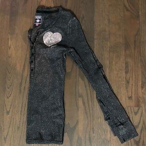 PINK Victoria Secret metallic Henley thermal sz M